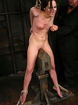 Sexy shaved 20 year old suffers in hard tight bondage, CUMS!