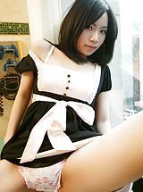 panties pics, Mio sexy Asian teen is a maid who also enjoys modeling for fun