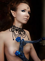 Tiny Breasts, Beautiful petite elf-girl posing naked and spreading legs