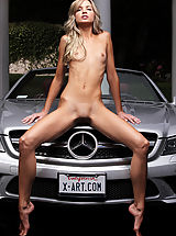 Small Breasts, Skinny blond Francesca strips out of her tiny silver bikini and straddles a sleek silver sports car...
