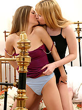 Sapphic Erotica Pics: Lesbian teen lovers rub and dildo pink pussies to orgasms
