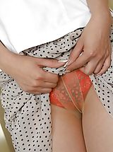 satin panties, Naughty Royoko is masturbating her pussy